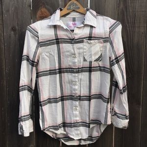 Justice Plaid Button Up Blouse Girls 14/16